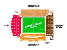 План схема стадиона Энфилд, Ливерпуль (Anfield seating plan)
