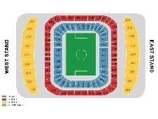 План схема стадиона Этихад Стэдиум, Манчестер (Etihad Stadium seating plan)