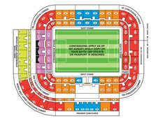 План схема стадиона Стэдиум оф Лайт, Сандерленд (Stadium of Light seating plan)