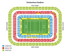 План схема стадиона Туикенем, Лондон (Twickenham Stadium seating plan)
