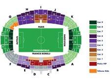 План схема стадиона Парк де Пренс, Париж (Parc des Princes seating plan)