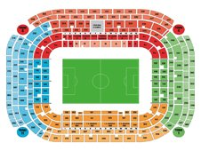 План схема стадиона Джузеппе Меацца (stadio san siro seating plan)