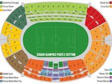 План схема Олимпийского стадиона в Риме (seating plan stadio olimpico rome)