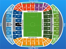 План схема стадиона Драгау, Порту (Estadio do Dragao, Porto seating plan)