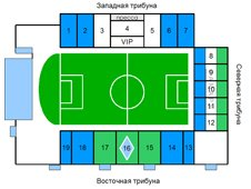 План схема стадиона «Металлург», Самара