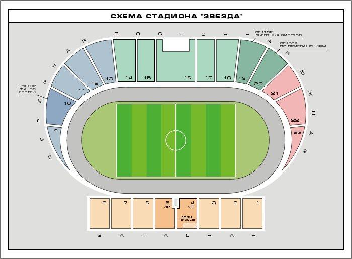 План схема стадиона Звезда,