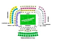 План схема стадиона Висенте Кальдерон (vicente calderon seating plan)
