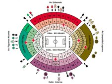 План схема стадиона Монументаль, Буэнос-Айрес (El Monumental seating plan)